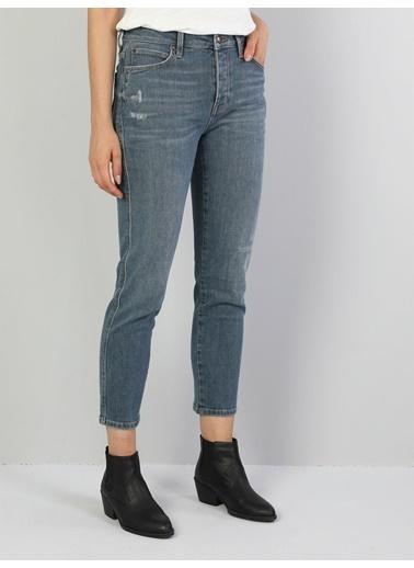 Colin's 891 Maya Orta Bel Daralan Paça Slim Fit Mavi Kadın Jean Pantolon Renkli
